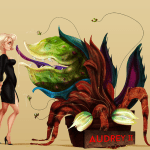 Audrey meets Audrey II. Illustration inspired by Little Shop of Horrors.