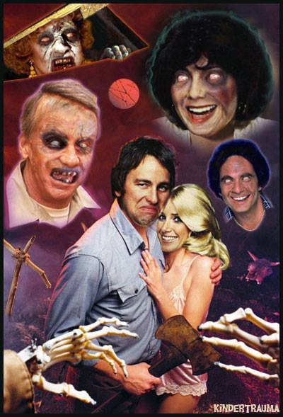 Jack Tripper fights The Evil Dead in this Three's Company mashup poster