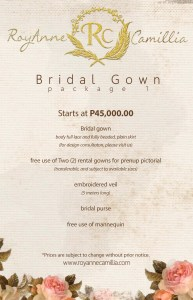Bridal gown packages by manila fashion designer RoyAnne Camillia Couture