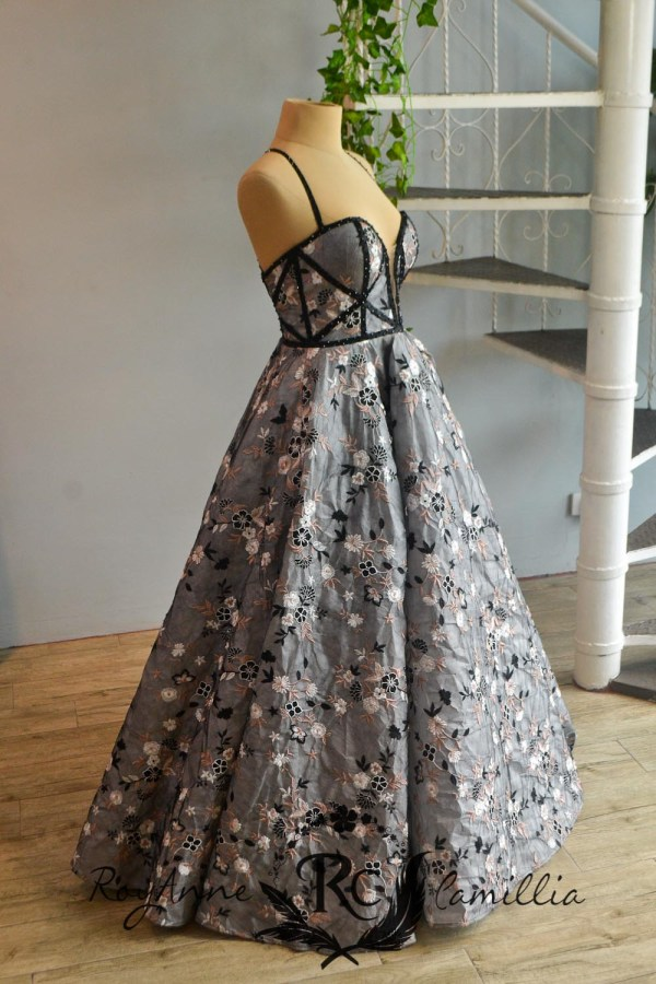 gray rental gown with floral accent lace by royanne camillia the best rental gowns in manila Philippines