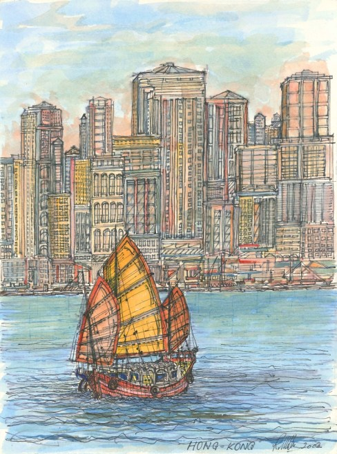 Hong Kong with Junk Boat. Watercolour.