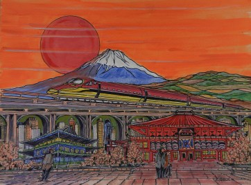 japan, mount fuji, bullet train,chashitsu