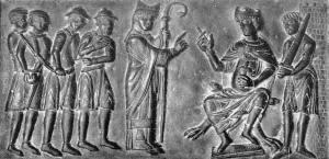 Święty Wojciech wykupuje słowiańskich niewolników z rąk kupców żydowskich (fragment Drzwi Gnieźnieńskich).