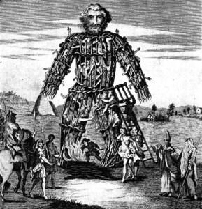 Popularnym sposobem składania ofiary była budowa drewnianej kukły, wypełnionej ludźmi i zwierzętami. Kukłę, naturalnie, palono