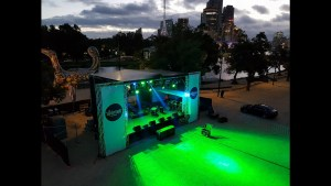 Outdoor stage 10m x 8m with cover, sound system and lighting rig set up