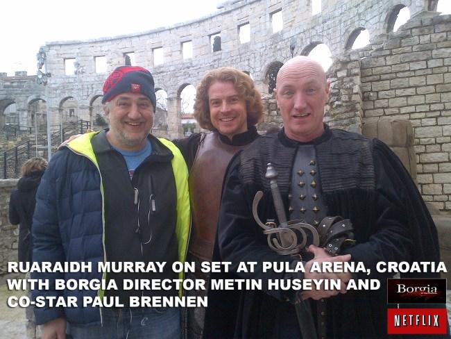 GC RUARAIDH MURRAY ON SET IN PULA CROATIA WITH METIN HUSEYIN AND PAUL BRENNEN