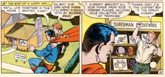 """a) I love the """"Superman and Son"""" sign b) does it say """"Superman"""" on the lease?"""