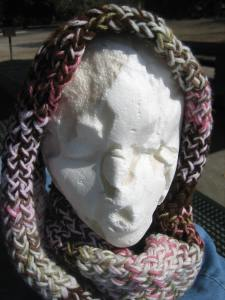 Esmerelda is modeling the scarf I made for Rose, with a color scheme of rosy pinks and browns.
