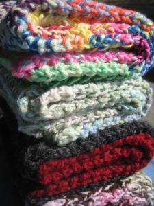 These are four scarves I made for some of my lady friends back at the Bridge.