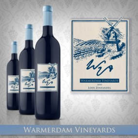Warmerdam Vineyards wine bottle label design