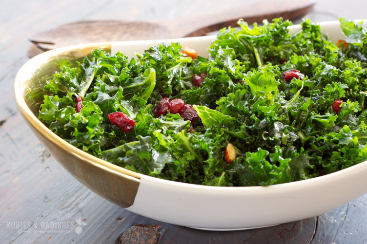 Massaged Kale Salad with Almonds and Cranberries