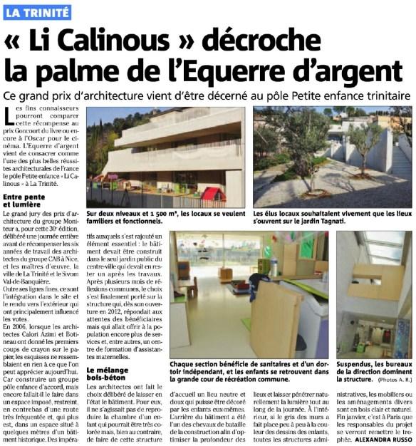 """La crèche """"Li Calinous"""" reçoit un grand prix national pour son architecture : l'Équerre d'argent."""