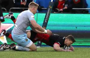 Chris Ashton scores a try for Saracens