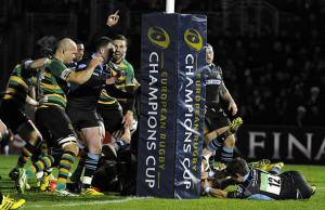 George North celebrates a try for Northampton Saints