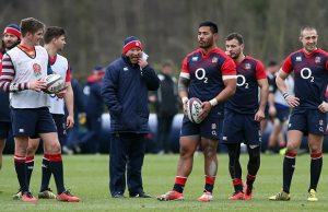 Manu Tuilagi at training with England head coach Eddie Jones