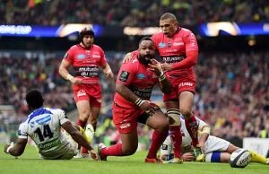 Mathieu Bastareaud celebrates a try in the European Champions Cup final