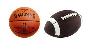 Photo of a basketball and football