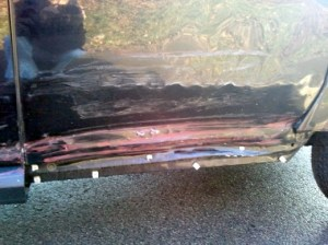 Photo of passenger side door of my Element before heading to Glenville Terrace Auto Body