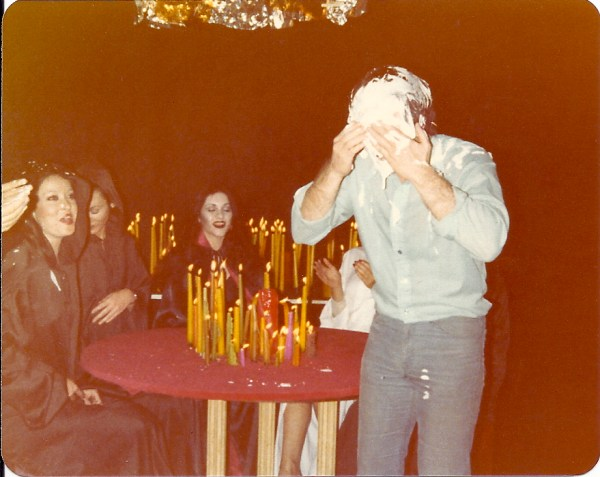Mike Cartel is hit in the face with a cream pie at the end of another endless night shoot just to break the tension on the set