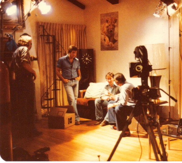 Cartel stages a scene flanked by Al Valletta standing and cameraman Dink Reed sitting