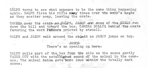 END Final page of the original script. Five different endings were shot before one was accepted.