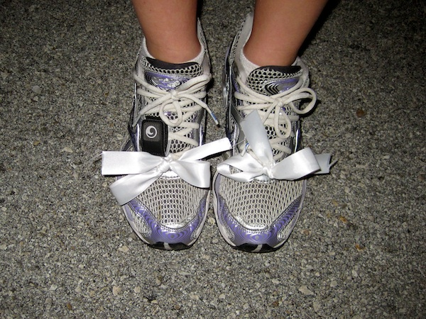 Bows on my running shoes completed the head to toe look (Photo: Phil Hospod)