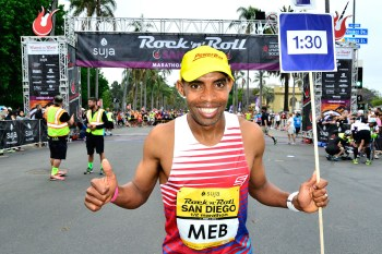 Meb Keflezighi paced 1:30 half-marathoners at the Rock 'n' Roll San Diego Half Marathon