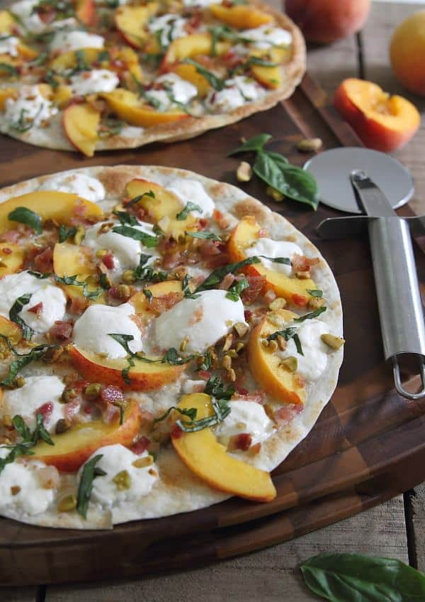 Paleo Fried Peach and Pancetta Pizza