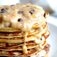 . chunky monkey greek yogurt pancakes .