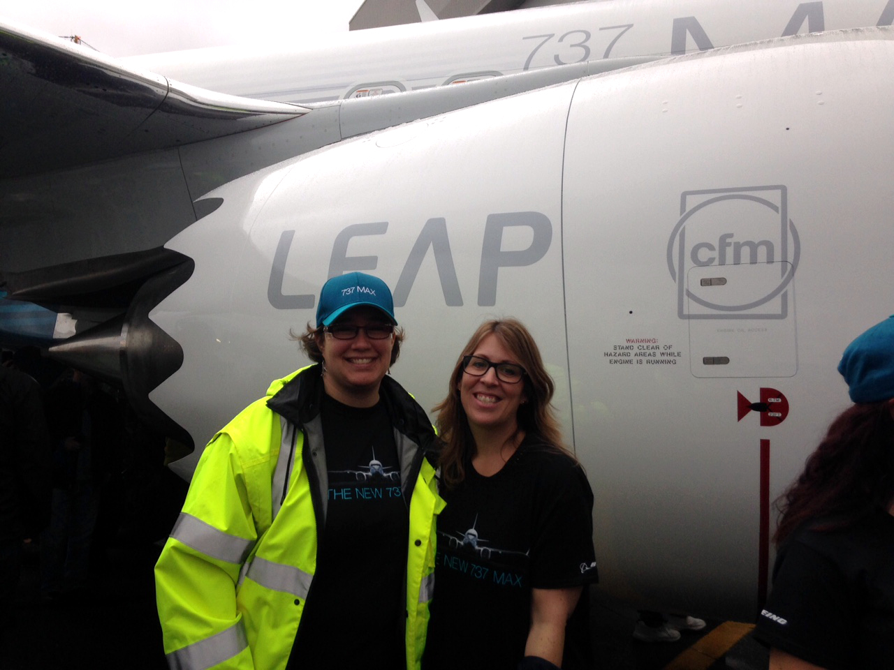 Cristina (right) and a GE field service engineer who is working in Seattle on the LEAP program. Image: