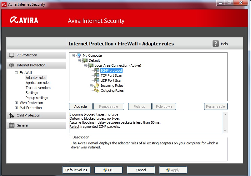 """Adapter """"Local Area Connection"""" is ICMP flooded Avira"""