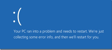 Your PC ran into problem and needs to restart