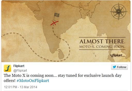Moto X tweet by Flipkart