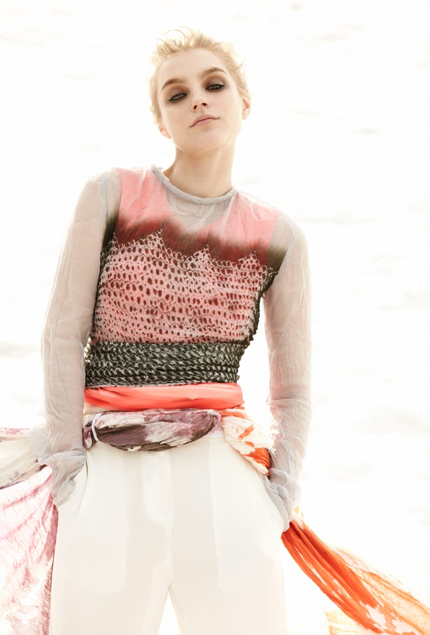 PROENZA SCHOULER top; RUE DU MAIL dress; RICHARD CHAI Love pants; customised cheesecloth.