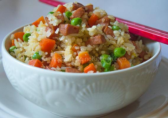 Filipino Fried Rice With Hot Dog
