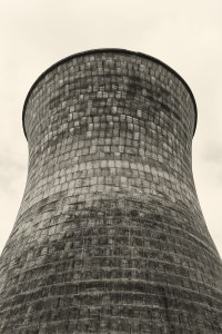 Cooling tower of old coal fired power station.