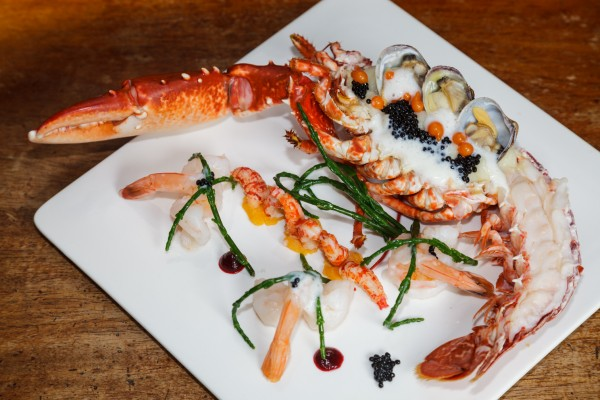 Half a Lobster, with Samphire and lots of other nice things