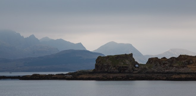 Dunscaith Castle In Front Of Bla Bheinn And Bein Na Callich