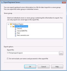Export local SSMS Connections