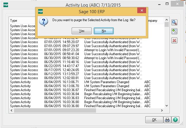 How to purge the Sage 100 system activity log