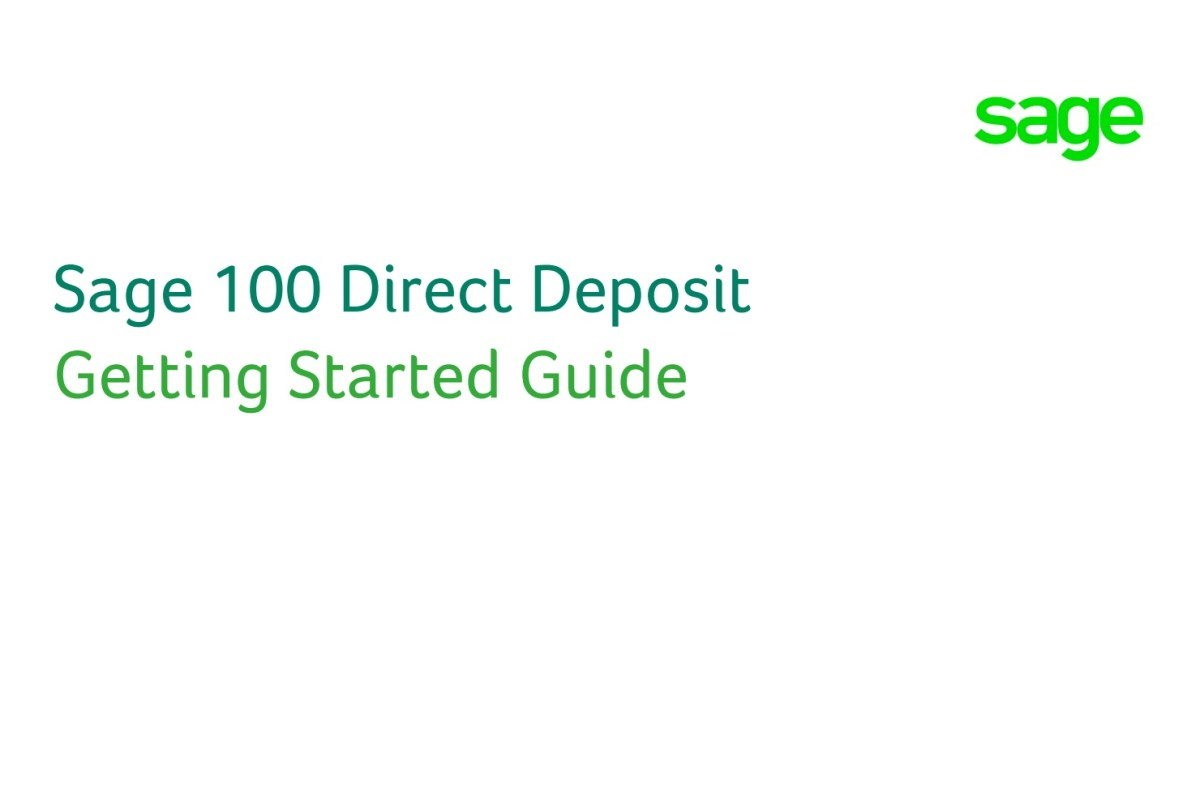 How To Setup The New Direct Deposit in Sage 100 Payroll