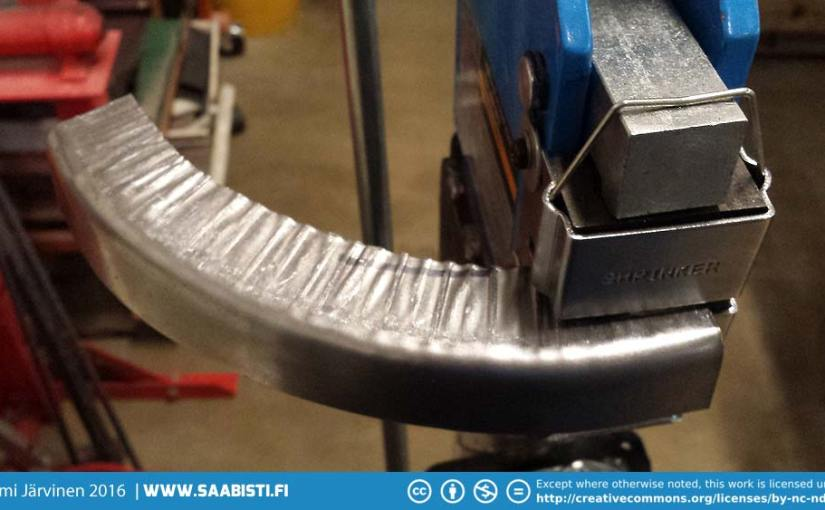 Using Shrinker/Stretcher to repair Saab 99 brake dust shields