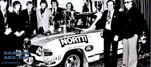 Hankiralli (Finnish Arctic Rally) 1977. 1st, SAAB V4, Stig Blomqvist - Hans Sylván. Last victory for Saab 96 in major international rally.