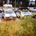 Saab 99 Team Finland ralliauto ja huoltoauto Hyvinkää ralli 1977