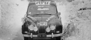 Hankiralli 1959. Rauno Aaltonen, Pentti Siutla, Saab 93B. TS-101