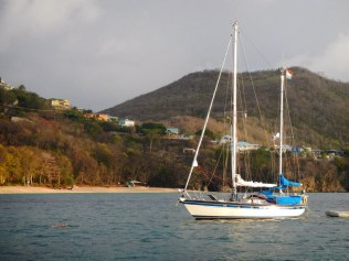 Just arrived, snorkling to my anchor (photo taken by Nelly Rose)