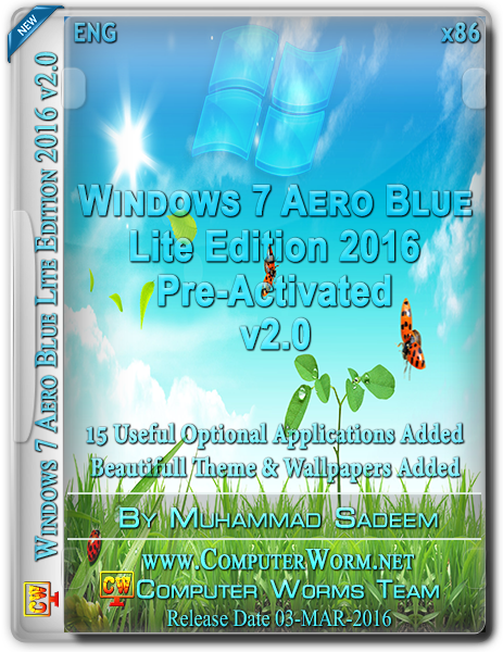 Windows 7 Aero Blue Lite Edition 2016 v2.0 (x86) Free Download