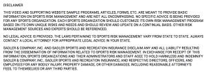 Risk Management disclaimer