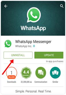 whatsapp uninstall
