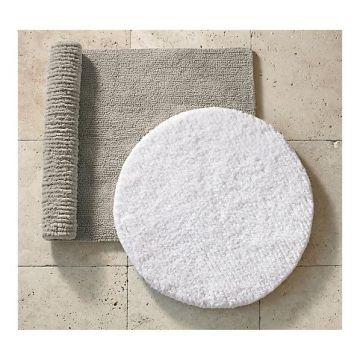 White and gold bath with vanilla glac shower curtain saffron speak for Restoration hardware bathroom rugs